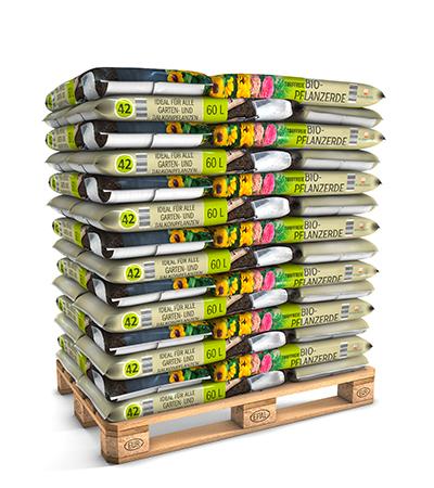 Palettenware 60 L Bio-Pflanzerde torffrei von Kleeschulte Erden